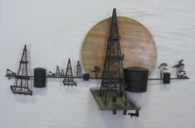 Mid Century Modern Metal Oil Rig Wall Art