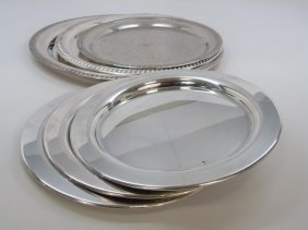 6 Vintage Silver Plate Trays Platters & Plates