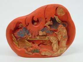 Chinese Carved Red Ink Stick Sculpture