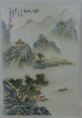 Chinese Famille Rose Porcelain Plaque Signed