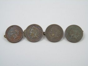 4 Indian Head Penny Buttons 1880