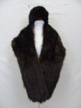 Vintage Mink Stole W/ Mink Fur Hat