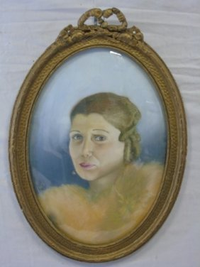 Vintage Framed Oval Pastel Portrait Of A Lady