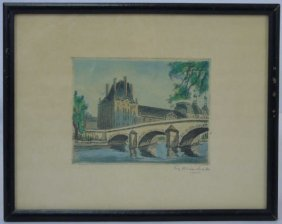 Antique Framed French Engraving Of The Louvre