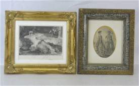 2 19th C Gilt Wood Frames w Fashion Prints