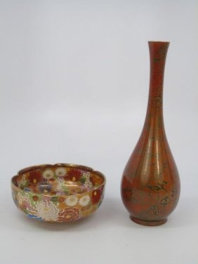 Antique Japanese Enameled Vase & Satsuma Bowl
