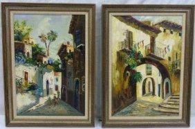 Pair Italian Mid Century Cityscape Paintings