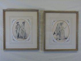 Pair Of 19th Century Courtship Portrait Prints