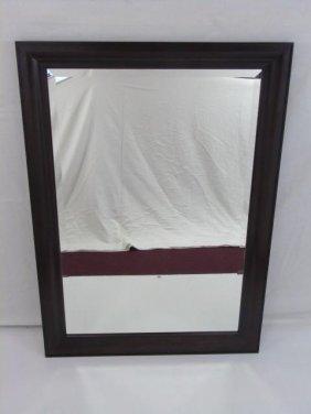Wood Framed Mirror With Bevel Dark Mahogany Finish