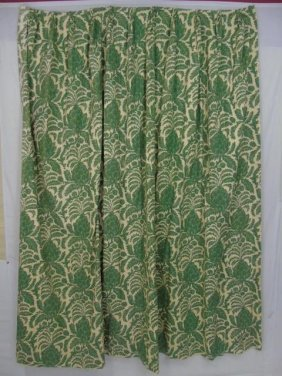 Pair Of Pinched Pleated Drapery Panels W/ Rods