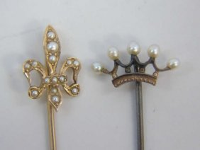 Antique Gold & Seed Pearl Crown Fleur De Lys Pins