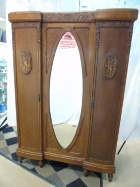 Antique American Early 20th C Carved Armoire