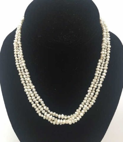 3 Strand Seed Pearl Choker Necklace Silver Clasp