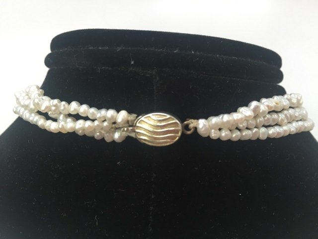 3 Strand Seed Pearl Choker Necklace Silver Clasp - 2