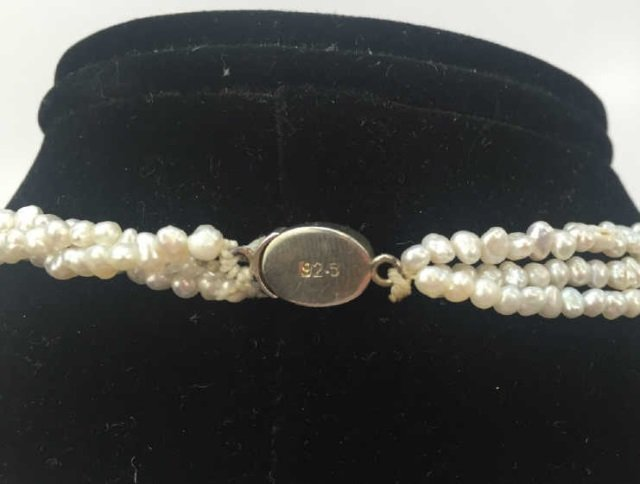 3 Strand Seed Pearl Choker Necklace Silver Clasp - 3