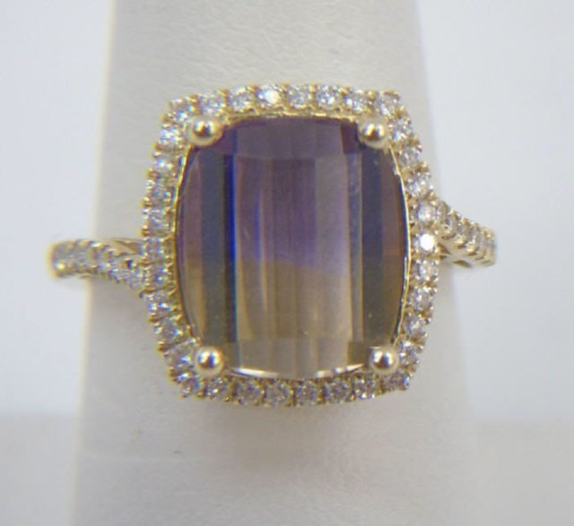 Contemporary Ametrine Diamond & Gold Ring