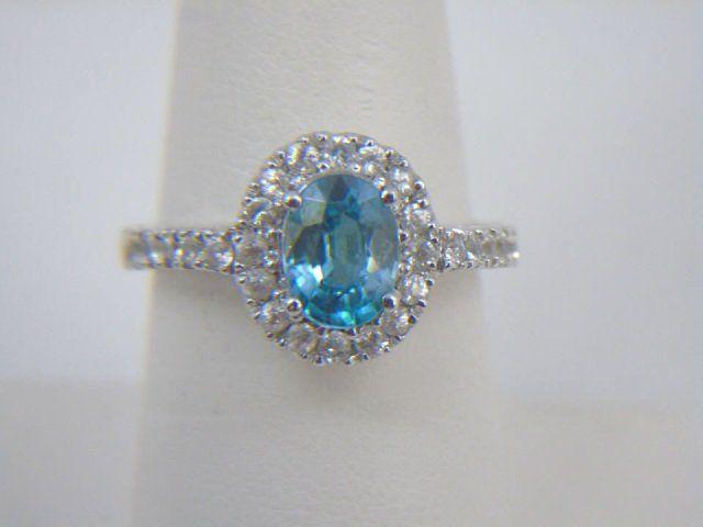 Estate Blue Zircon & Diamond Gold Cocktail Ring