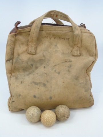 John F Kennedy's Golf Ball Bag & Golf Balls c 1942