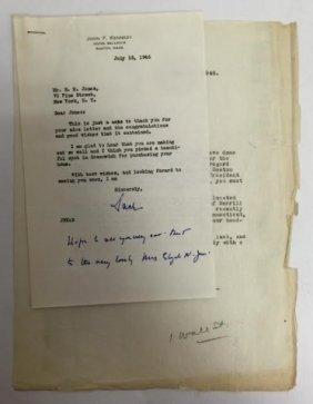 John F Kennedy Hotel Bellevue Signed Letter