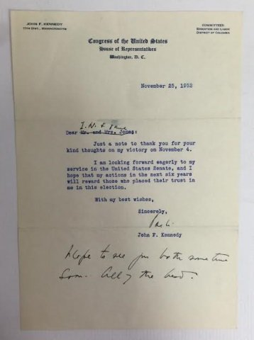 John F Kennedy Congress of the US Signed Letter