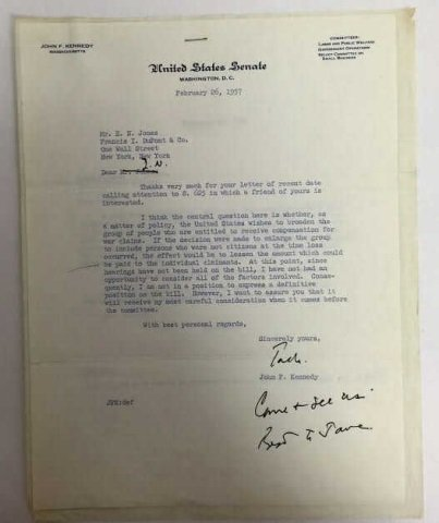 John F Kennedy United States Senate Signed Letter