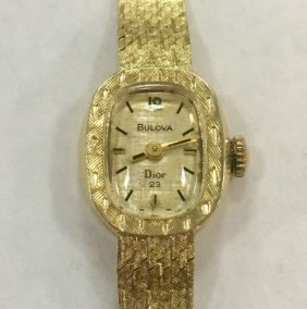 14k Yellow Gold Bulova Dior 23 Ladies Slim Watch
