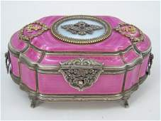 Russian Sterling Diamond  Enamel Bolin Box