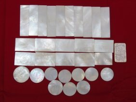 Antique Chinese Mother Of Pearl Games Pieces