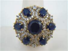 Large Sterling Silver & Blue CZ Cocktail Ring