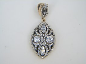 Sterling Silver Marquis Shaped Pendant W White Cz
