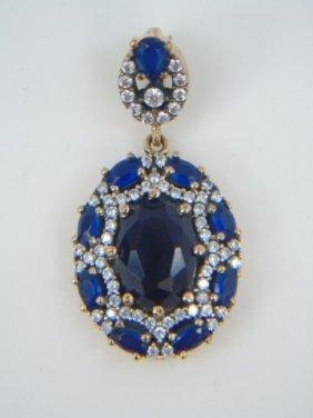 Sterling Silver Pendant W/ Blue & White Cz