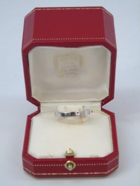 Cartier 18kt White Gold Band Ring W/ Original Box