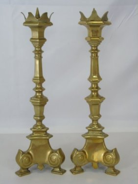 Pair Continental 19th C. Gilt Bronze Candlesticks