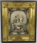 19th C Russian Silver St George Framed Icon