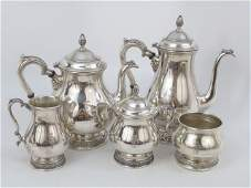5 Piece Antique Sterling Silver Tea  Coffee Set