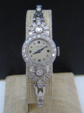 Antique Art Deco Hamilton White Gold Diamond Watch