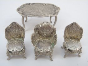 Antique Silver Dollhouse Miniature Size Furniture