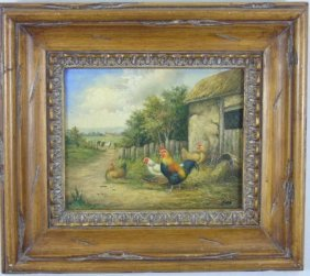 Haas - Contemporary Painting Landscape W/ Chickens