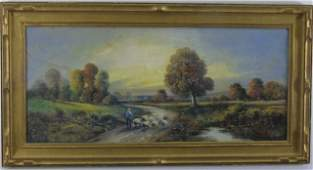 Richi - Oil Painting Landscape w/ Sheep & Shepherd