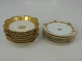 Antique Limoges Gold Decorated Dessert Set