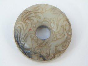 Chinese Carved Jade Phoenix & Dragon Bi Disc