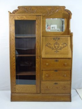 Antique American Victorian Carved Oak Secretary