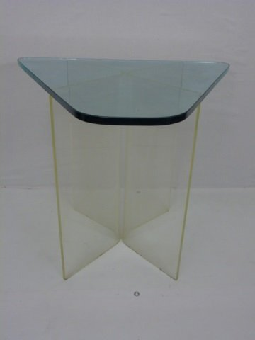 Contemporary Modern Glass & Lucite End Table