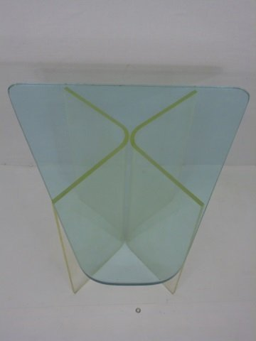 Contemporary Modern Glass & Lucite End Table - 2
