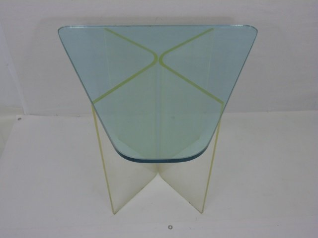 Contemporary Modern Glass & Lucite End Table - 3