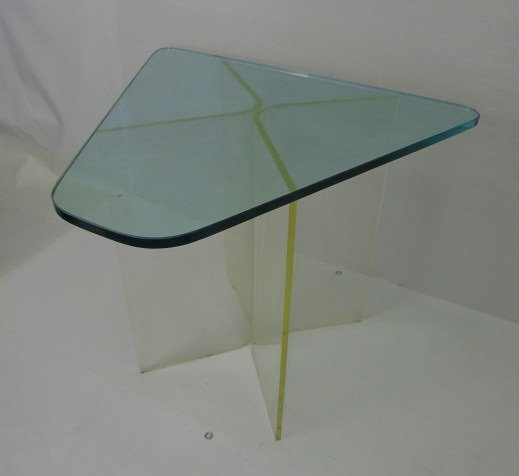 Contemporary Modern Glass & Lucite End Table - 4