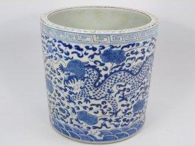 Large Chinese Blue & White Porcelain Brush Pot