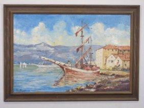 1963 Oil On Canvas Painting Of Schooner In Harbor