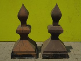 2 Antique American Architectural Salvage Finials