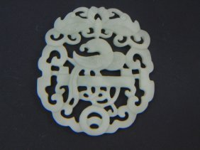 Chinese Carved Green Jade Phoenix Pendant Disc